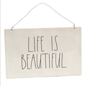 New Rae Dunn LIFE IS BEAUTIFUL Wall Plaque